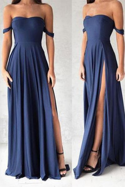fit and flare maxi navy blue dress with open toe black heels