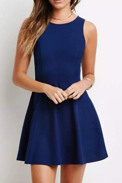 fit and flare sleeveless navy blue mini cocktail dress