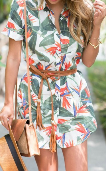 green and white belted button up mini print dress