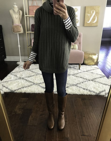green mock neck ribbed sweater with black and white striped long sleeve tee