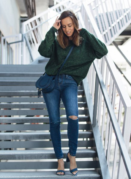 grey chunky sweater with blue ripped jeans and open toe heels
