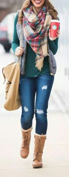 grey long sleeve tee with blush plaid scarf and blue jeans