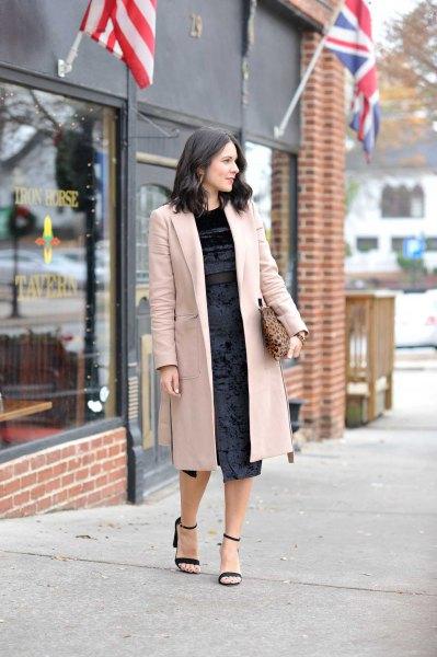grey longline blazer with black velvet midi dress