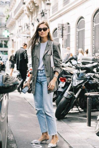 grey longline blazer with light blue vintage mom jeans