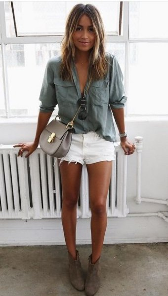 grey pocket front button up relaxed fit shirt with white high rise jean shorts