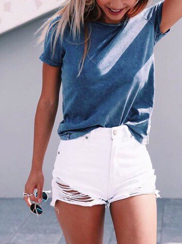 grey t shirt with white distressed jean shorts