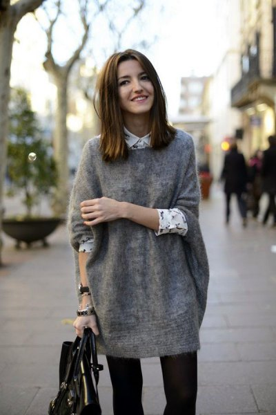 grey tunic sweater with white printed button up shirts