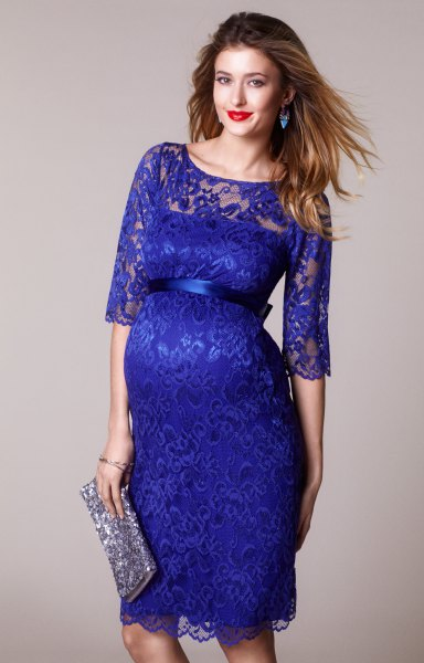 half sleeve lace scalloped hem lace dress with silver sequin clutch bag