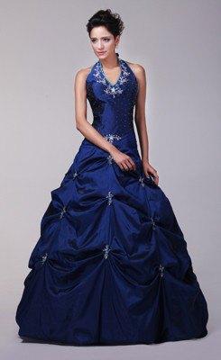 halter neck dark royal blue fit and flare floor length dress