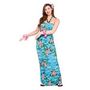 halter neck maxi tube blue luau dress with black flip flops