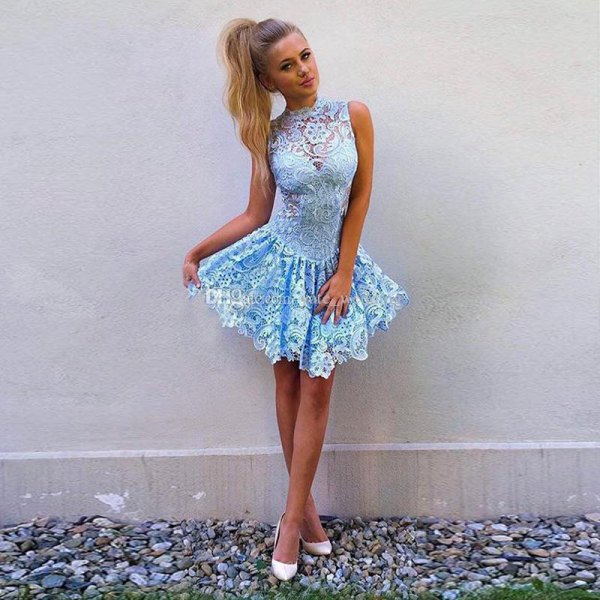 light blue sleeveless lace short skater dress with white heels