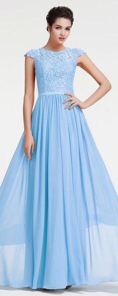 light sky blue cap sleeve fit and flare floor length prom dress