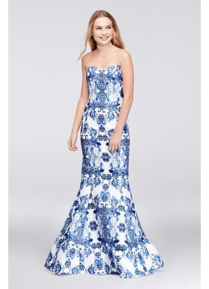 navy blue and white off the shoulder tribal printed formal dress