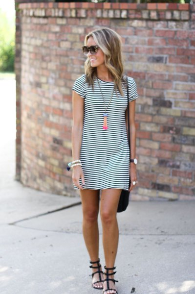 navy blue and white striped mini t shirt dress and black strappy sandals
