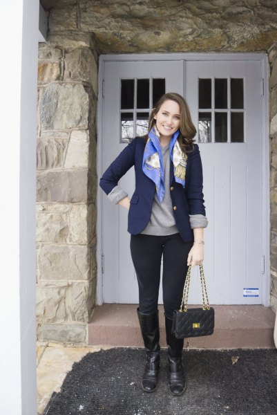 navy blue blazer with grey sweatshirt and silk scarf
