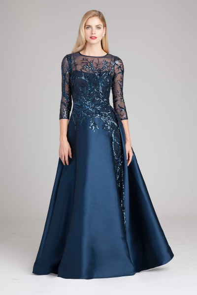 navy blue chiffon sleeve maxi fit and flare gown