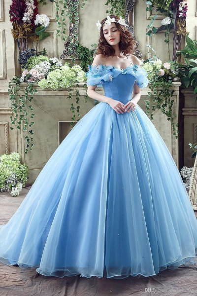 off the shoulder light blue fit and flare floor length chiffon dress