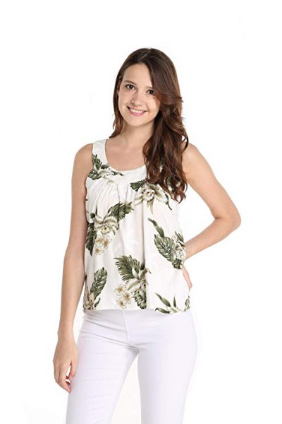 off white hawaiian tank top with skinny jeans