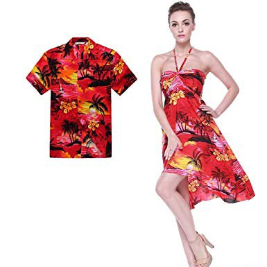 orange halter neck fit and flare chiffon luau mini dress with heels