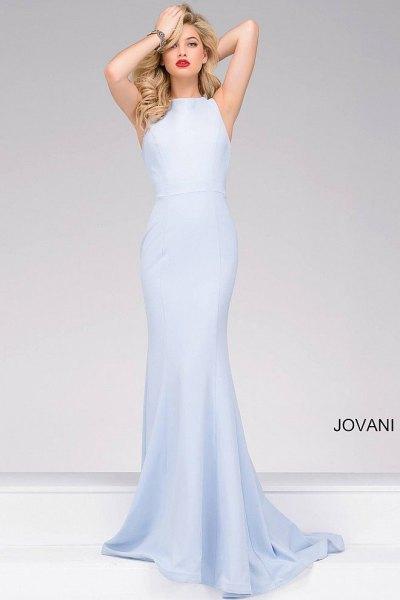 pale blue sleeveless mermaid maxi dress with white heels