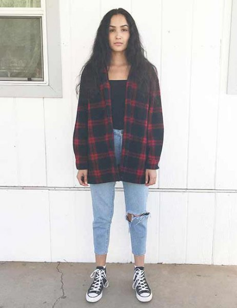 red and black plaid boyfriend shirt with ripped and cropped mom jeans