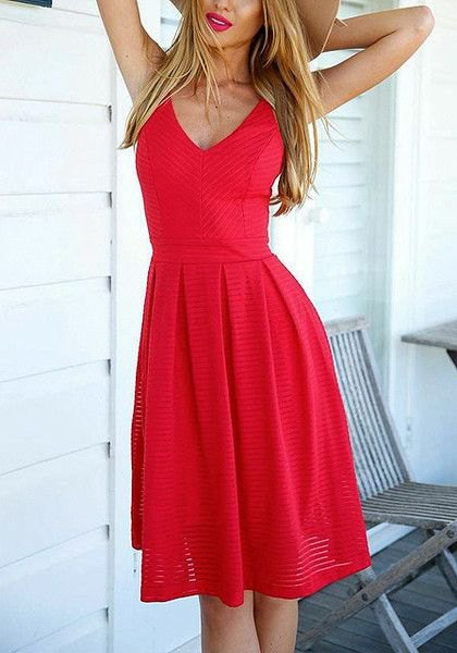 red pleated fit and flare knee length v neck dress
