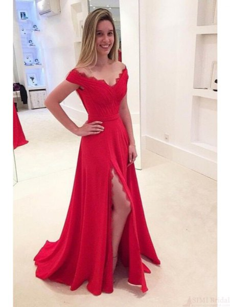 red scalloped neckline wide v neck high split floor length dress
