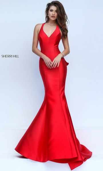 red silk v neck sleeveless mermaid prom dress