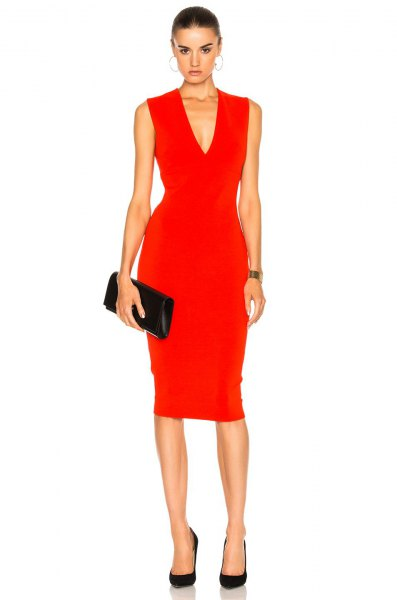 red v neck sleeveless midi dress with black leather clutch bag