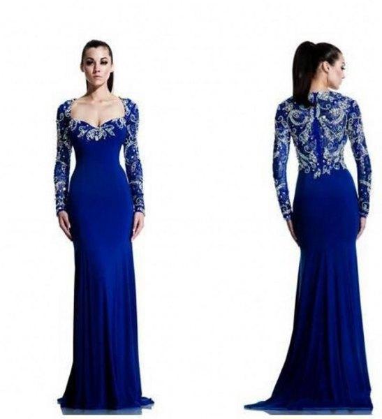 royal blue and silver v neck floor length flowy chiffon dress