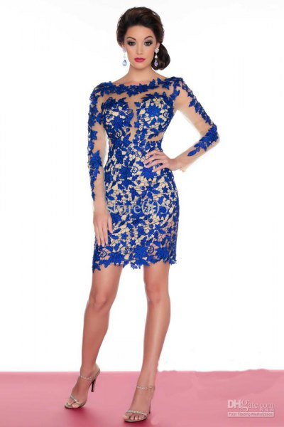 royal blue semi sheer mini dress with open toe silver heels
