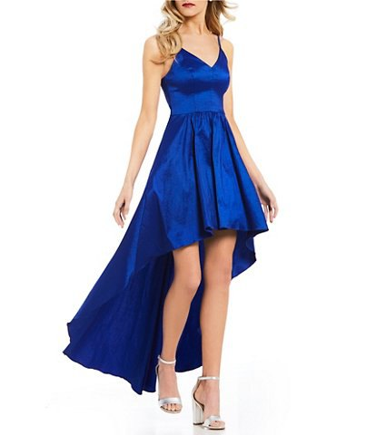 royal blue silk v neck fit and flare high low dress