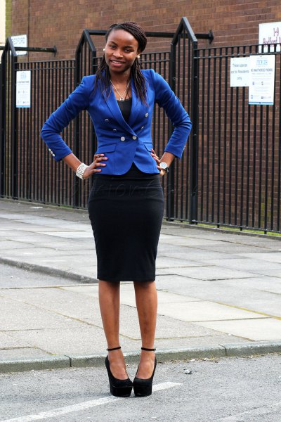 royal blue slim fit blazer with black midi bodycon skirt