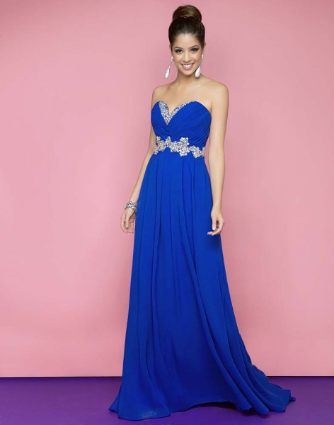 royal blue sweetheart neckline strapless fit and flare dress
