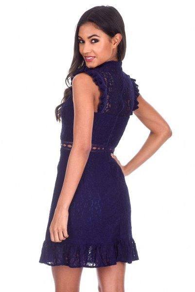 ruffle cap sleeve mock neck fit and flare lace mini dress