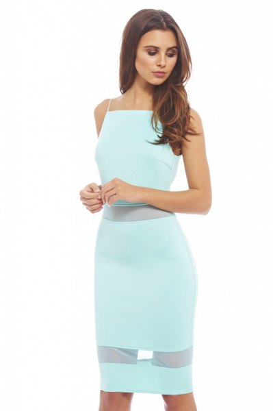 semi sheer midi halter bodycon dress