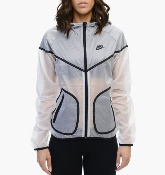 semi sheer white nike windbreaker with black running pants