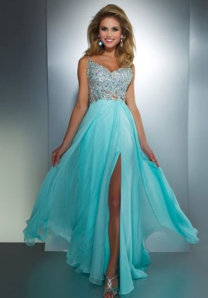 silver and light blue high slit maxi dress with open toe metallic heels