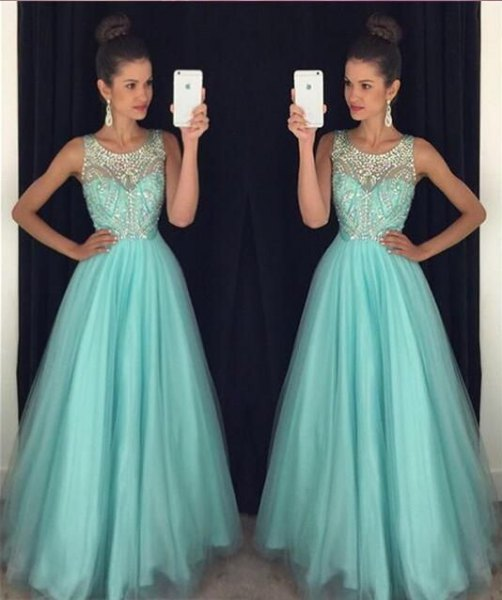 sleeveless silver sequin and teal blue fit and flare maxi chiffon dress