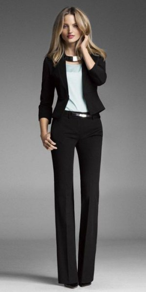 slim fit blazer with dress pants and silver metallic choker