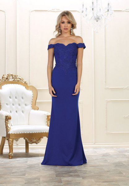 sweetheart neckline mermaid royal blue floor length dress