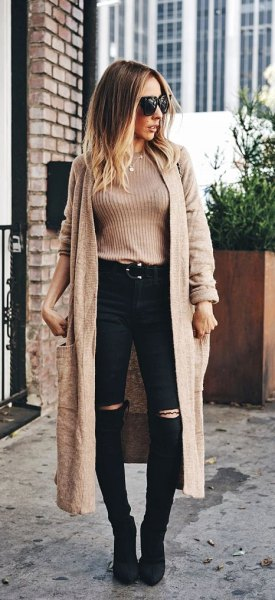tan ribbed sweater with longline pale brown cardigan