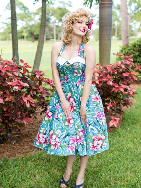 teal blue and white hawaiian style halter neck fit and flare midi dress