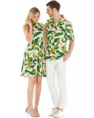 white and green mini sleeveless luau swing dress