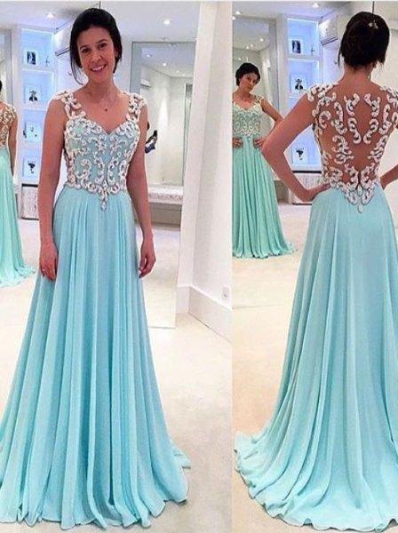 white and light blue lace semi sheer chiffon floor length dress