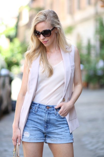 white chiffon tank top with light grey vest and denim shorts
