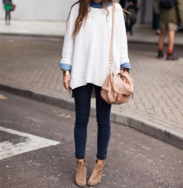 white chunky oversized sweater with light blue chambray button up shirt