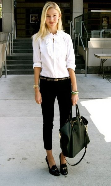 white lace collar button up shirt with cropped dress slacks