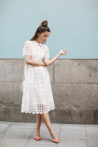 white lace midi dress with strappy sequin pointed toe heels