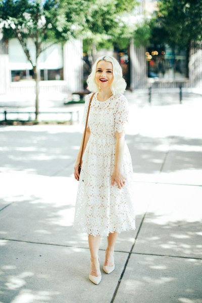 white midi flared lace dress with pointed toe heels